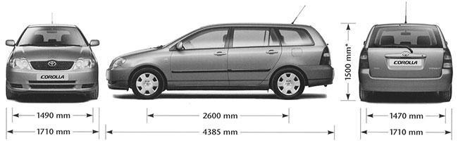 Габариты Corolla 120