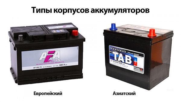 Виды аккумуляторов