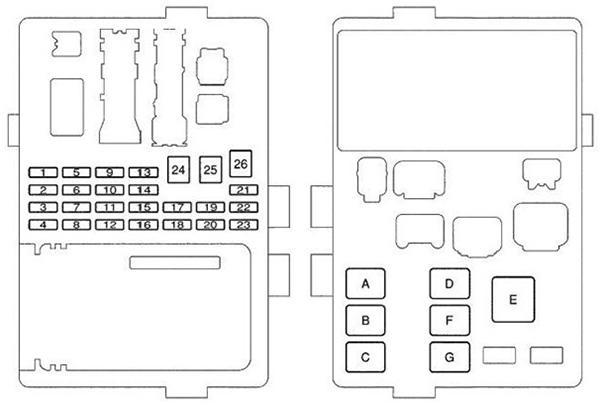Схема 2-о блока предохранителей Corolla 120