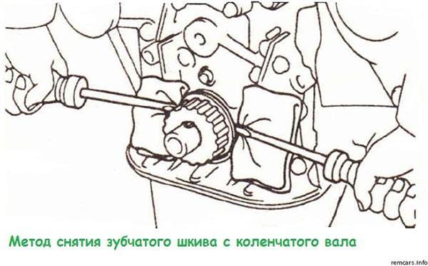 Снятие шкива коленчатого вала 4A-FE