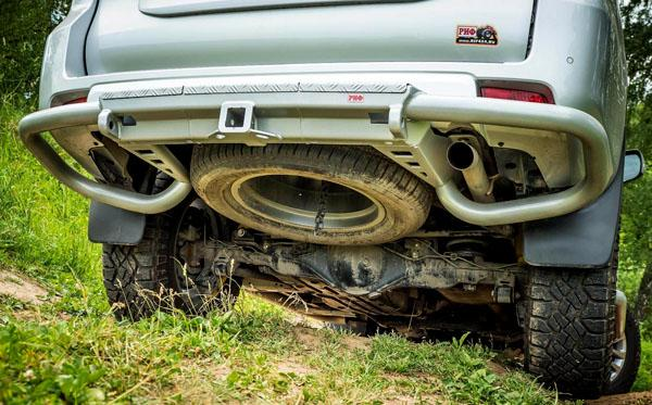 RIF150-20200 задний силовой бампер РИФ на Toyota Land Cruiser Prado 150 c квадратом под фаркоп