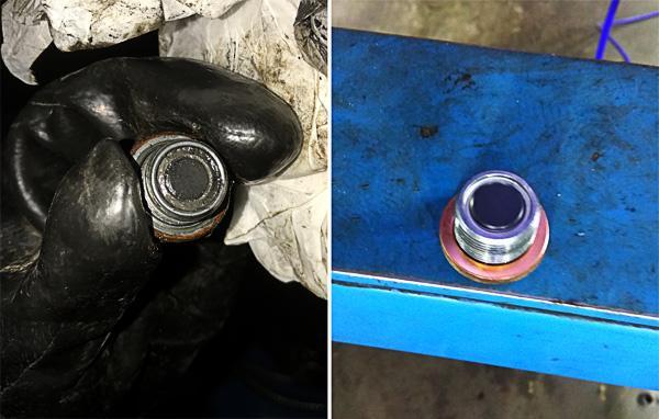 Нижняя сливная пробка с магнитом до и после чистки раствором Уайт-спирит.