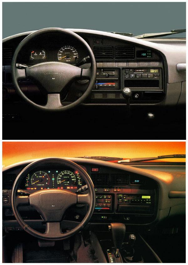 Передняя панель Land Cruiser 80 комплектации STD (сверху) и VX (снизу)