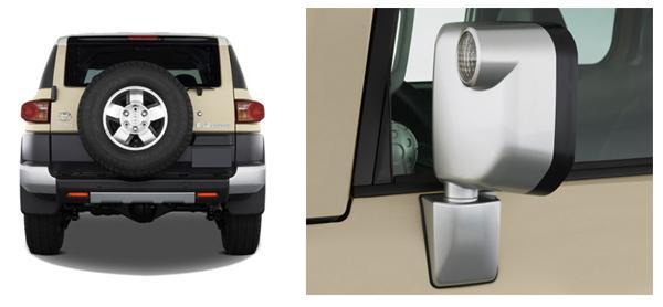 Запаска на задней двери и зеркало заднего вида Toyota FJ Cruiser