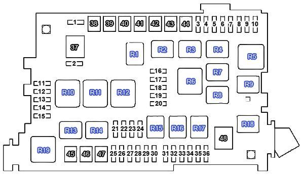 Схема блока предохранителей в моторном отсеке Прадо 120