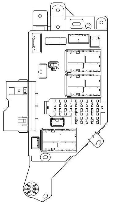 Схема левого блока предохранителей в салоне