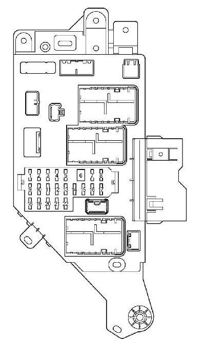 Схема правого блока предохранителей в салоне