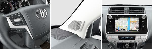 1. Кнопки на руле для управления аудио; 2. Аудиосистема с девятью динамиками; 3. Восьмидюймовый цветной ЖК-монитор (слева направо)