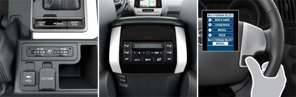 1. Подогрев и вентиляция передних сидений; 2. Подогрев задних сидений; 3. Селектор режима выбора работы систем помощи при движении по бездорожью (Multi-Terrain Select) (слева направо)