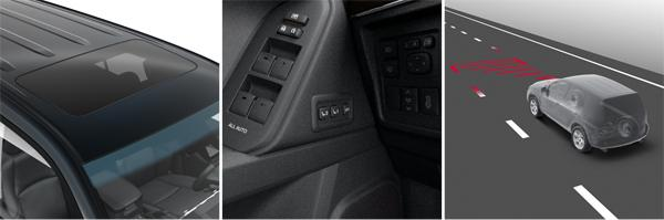 1. Люк с электроприводом; 2. Память водительского сиденья и рулевой колонки в 2 положениях; 3. Система оповещения о непреднамеренном пересечении дорожной разметки (слева направо)