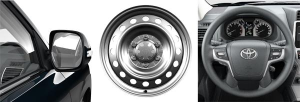 Боковые зеркала с электроподогревом и электроприводом, стальные колесные диски, рулевая колонка стелескопической регулировкой (слева направо)