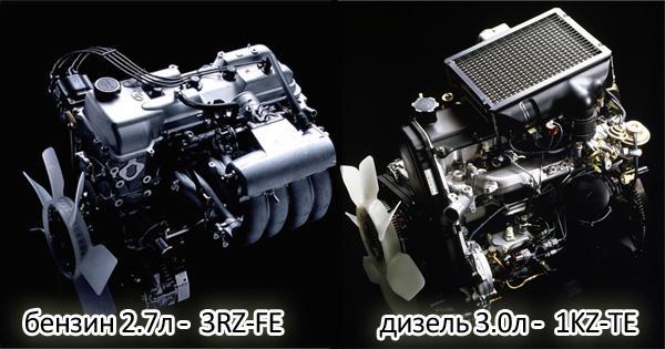 В первое время на внедорожник ставились 3RZ-FE и 1KZ-TE