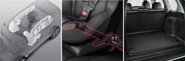 """предусмотрены несколько подушек безопасности: водительская, переднего пассажира, дляколеней водителя, боковые подушки и """"шторки""""; для детей предусмотрено надежное крепление ISOFIX; багажное отделение 621 л (слева направо)"""