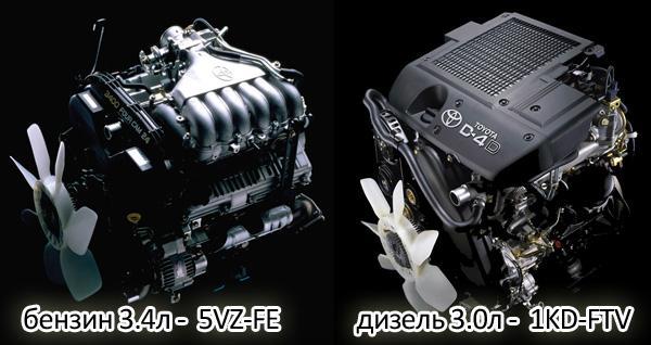 Позже стали устанавливать двигатели 5VZ-FE и 1KD-FTV
