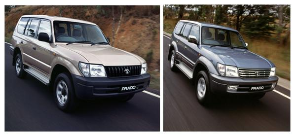 Комплектации Land Cruiser Prado 95: RV (слева) и TX (справа).