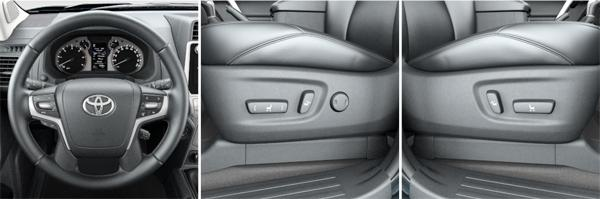 Рулевое колесо в оплетке из кожи; сиденье водителя перемещается в 8 направлениях; сиденье пассажира имеет 4 направления (слева направо)