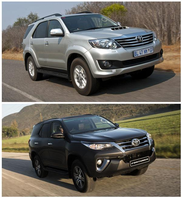 Fortuner AN50 (сверху) и Fortuner AN150 (снизу)