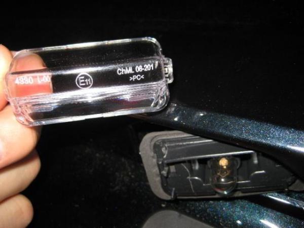 замена лампочки подсветки номера
